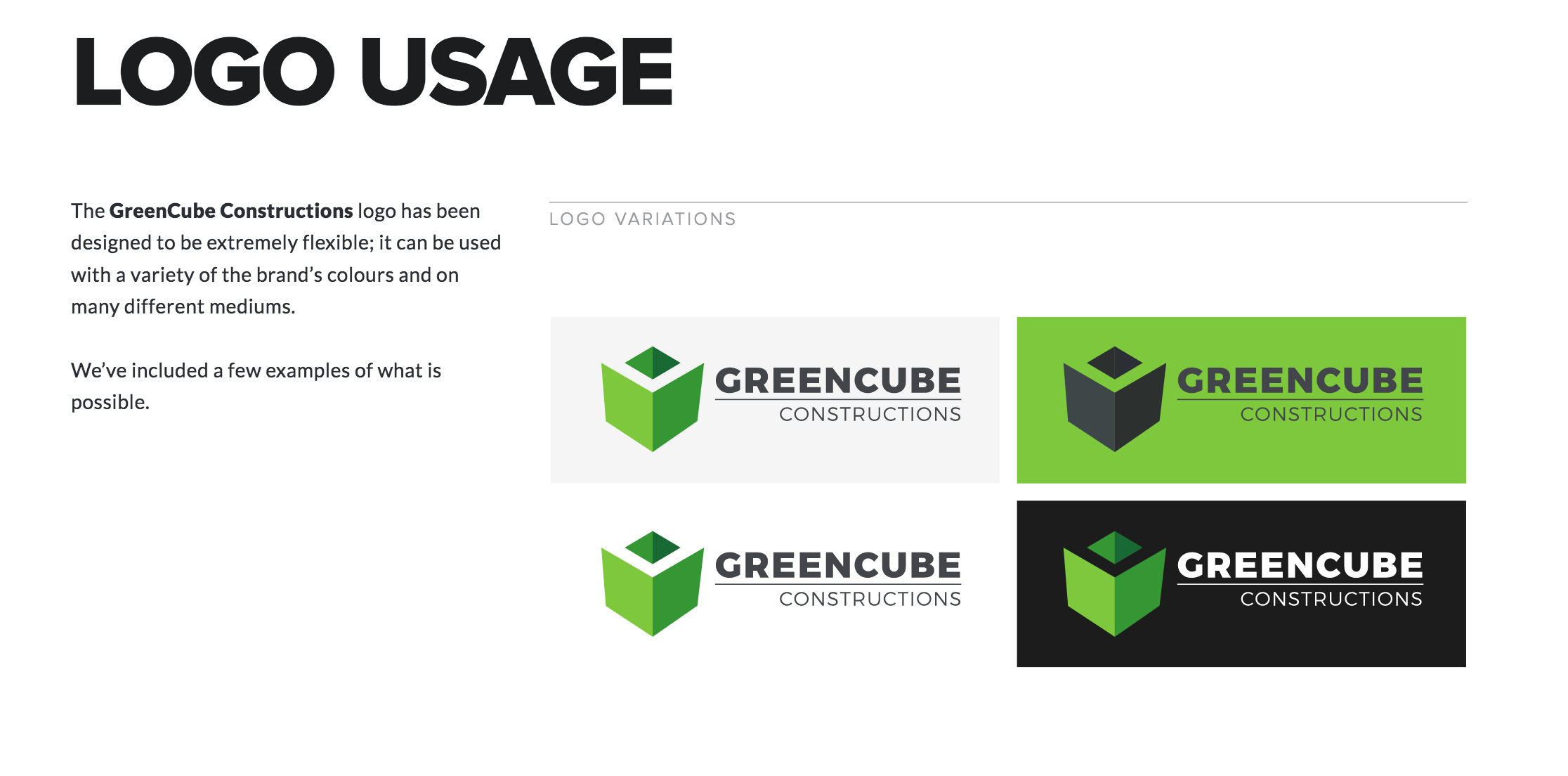 GreenCube Constructions Brand Guidelines Document Page 3